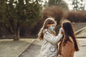 Mother and Daughter in masks
